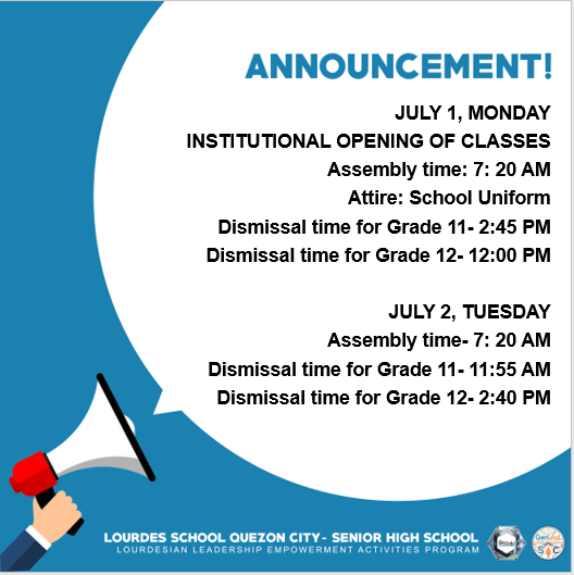 OPENING OF CLASS DISMISSAL TIME
